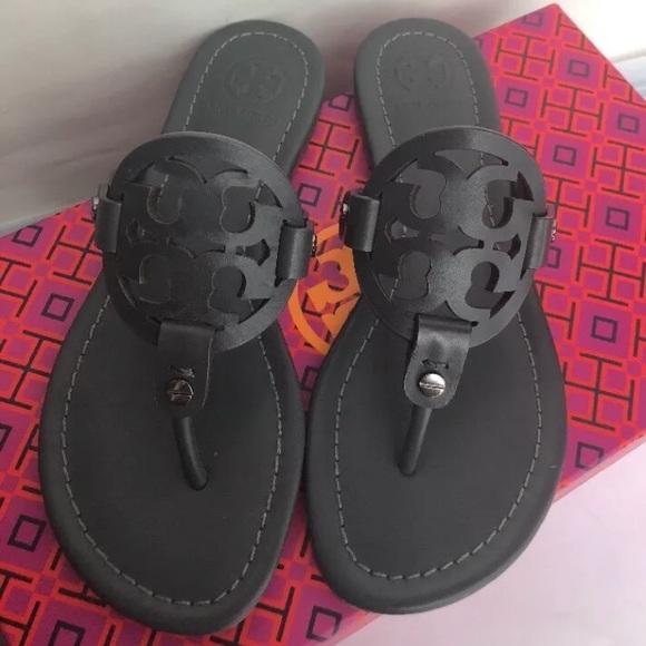 Tory Burch Miller Grey Matte Sandals